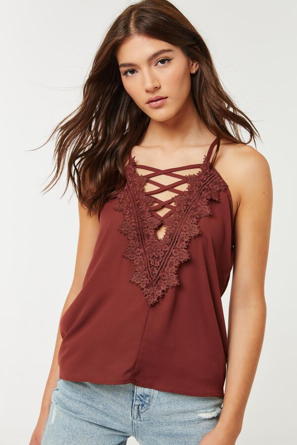 Wool Dobby Tank Top with Lace
