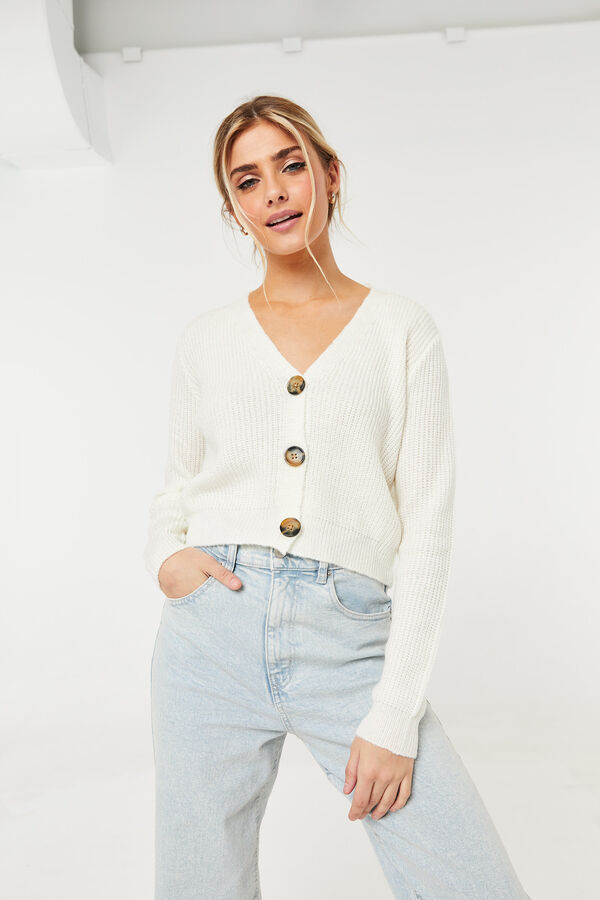 Cropped Buttoned Cardigan