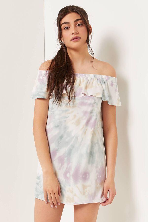 Tie-dye Off Shoulder Dress