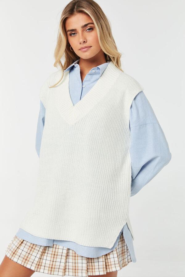Débardeur en tricot à gros col V
