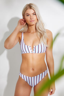 0b30aa90654 Striped Cheeky Bikini Bottom