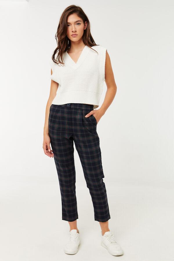 High Rise Plaid Trousers
