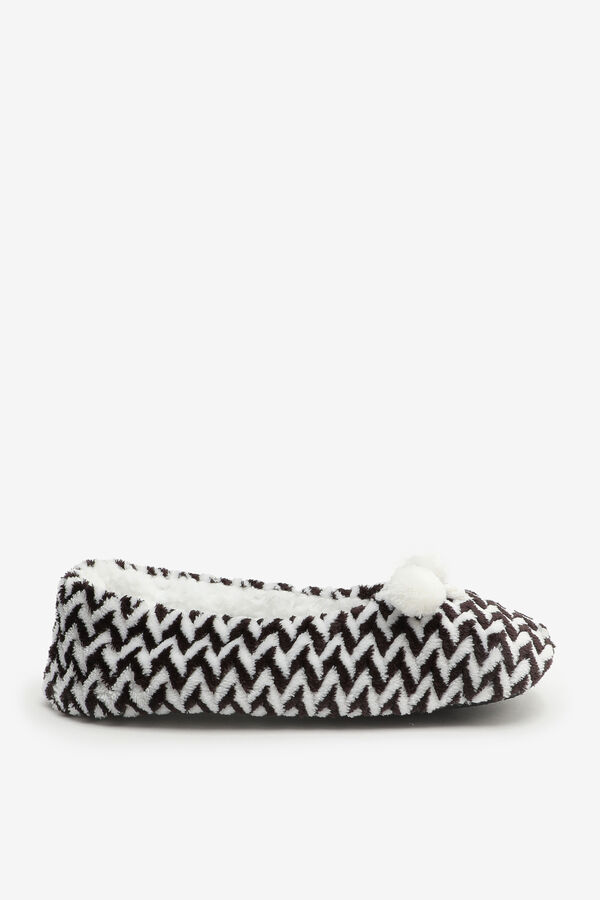 Fuzzy Chevron Ballerina Slippers