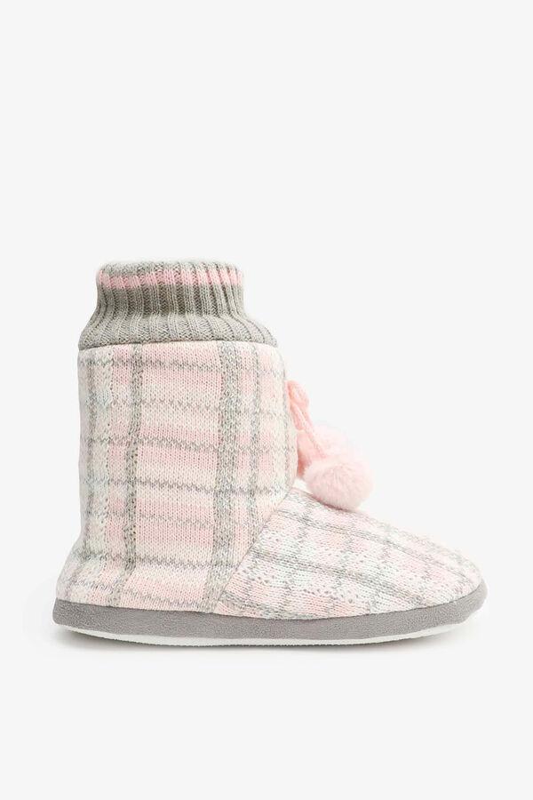 Bottes pantoufles à carreaux à col tricot