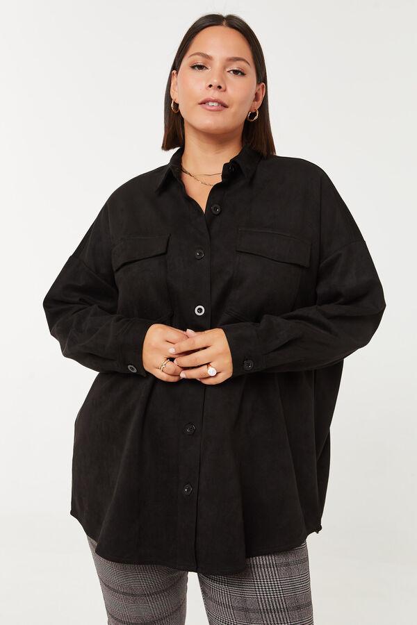 Long Microsuede Oversized Shirt