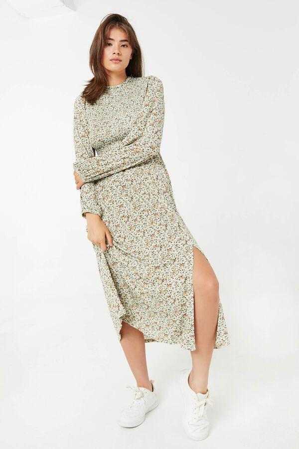 Ditsy Floral Peasant Midi Dress
