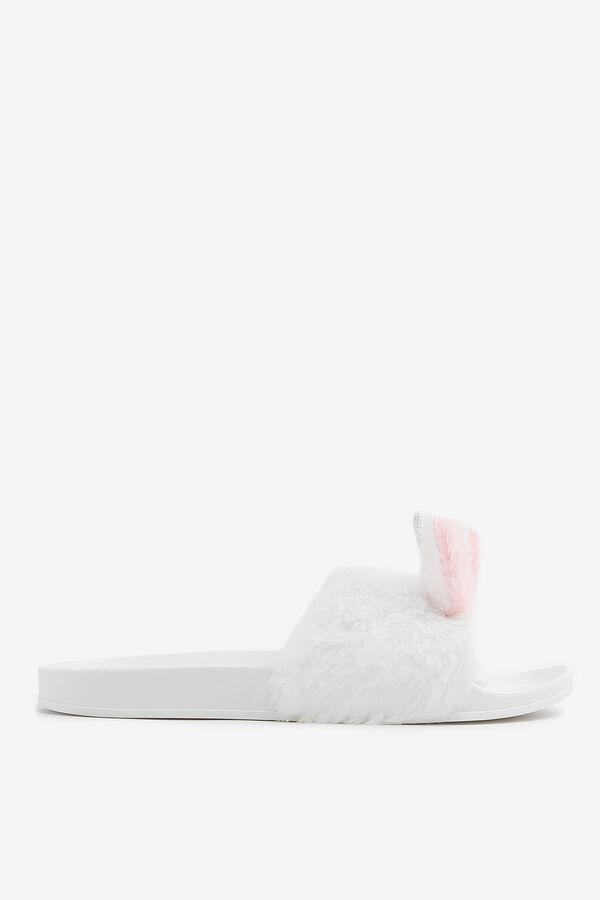 Faux Fur Bunny Slide Sandals