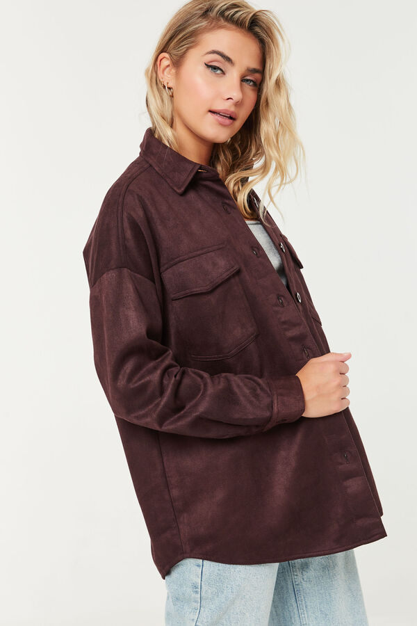 Long Oversized Microsuede Shirt