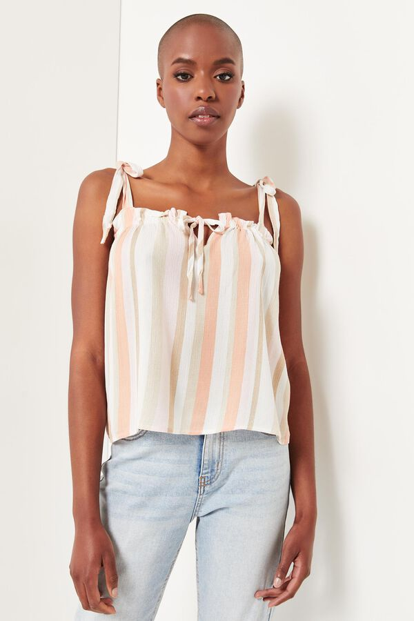 Striped Tank Top with Tie Straps