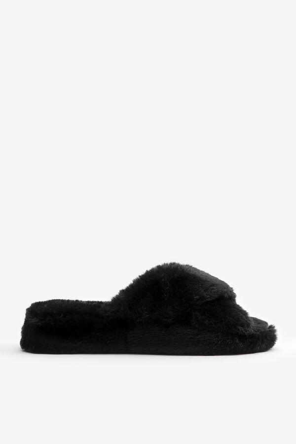 Crossed Faux Fur Slippers