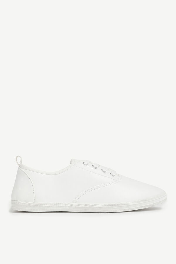 Faux Leather Laced Sneakers