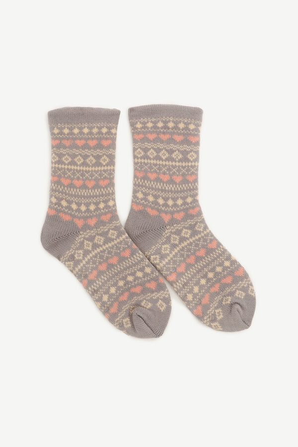 Lined Fair Isle Slipper Socks