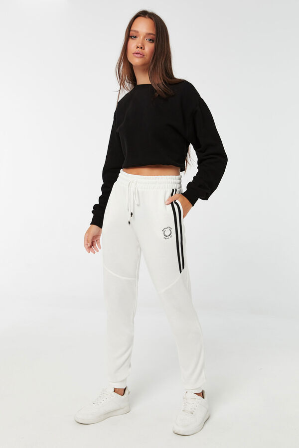 Slim Fit Joggers with Half Side Stripes