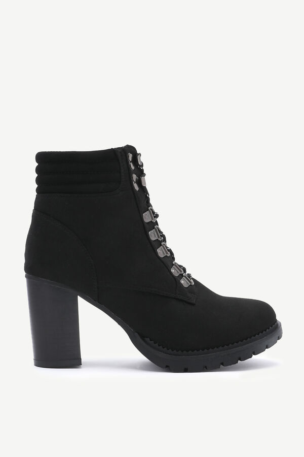 Faux Suede Track Heel Ankle Boots