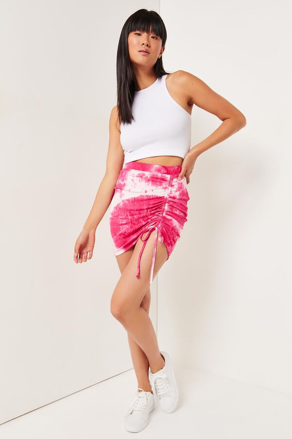 Tie-dye Skirt with Side Ruching