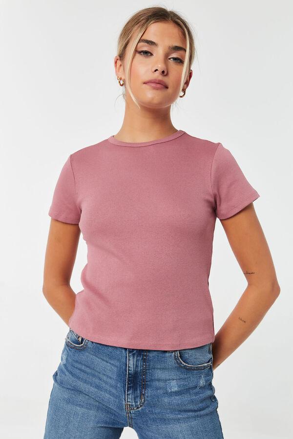 T-shirt court côtelé Basic