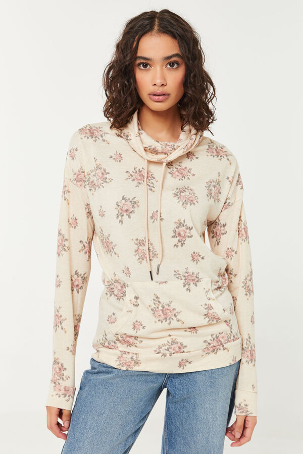 Floral Long-Length Funnel Neck Sweater