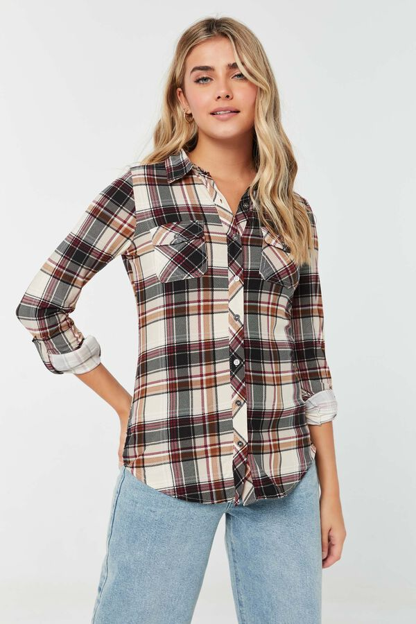 Long Plaid Shirt with Roll-Up Sleeves