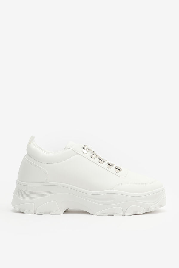 Chunky Faux Leather Sneakers