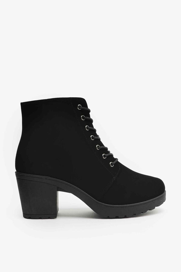 Microsuede Track Heel Ankle Boots