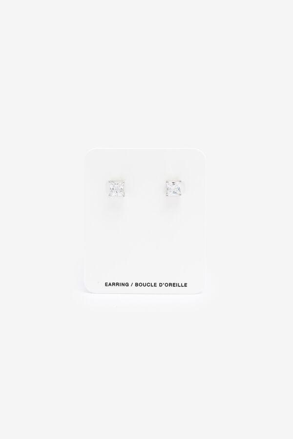 Sterling Silver Princess Cut Stud Earrings