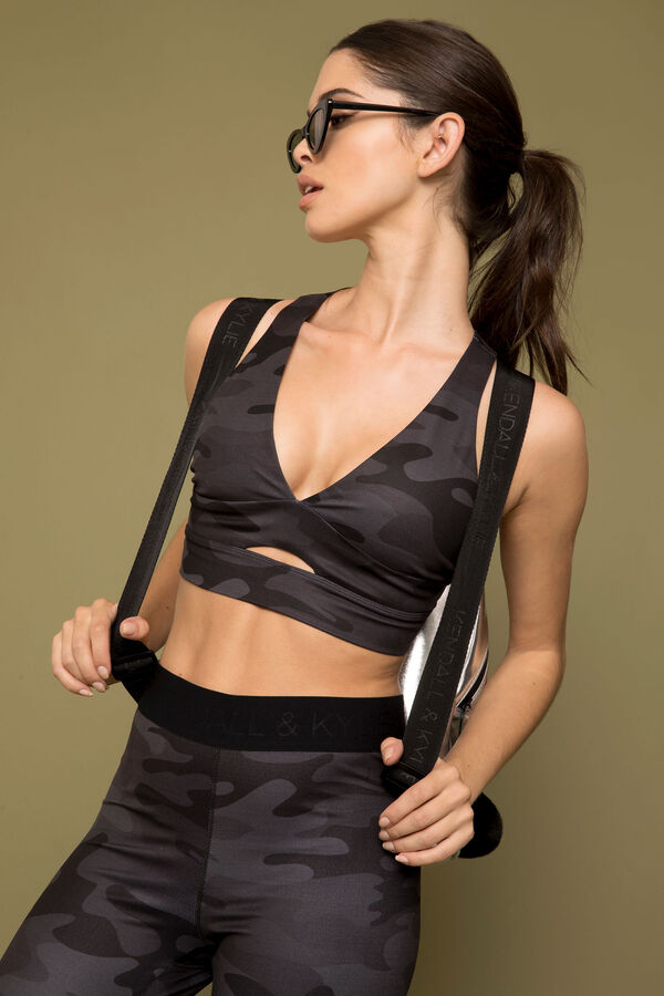 c073063c02ba2 Images. Kendall Kendall   Kylie Camo Plunge Sports Bra ...