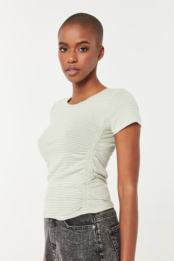 Striped Tee with Ruched sides