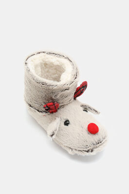 590d5f7fe571 Faux Fur Reindeer Boot Slippers