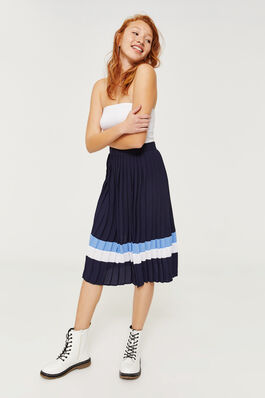 2ac47c3198cb Pleated Color Block Midi Skirt