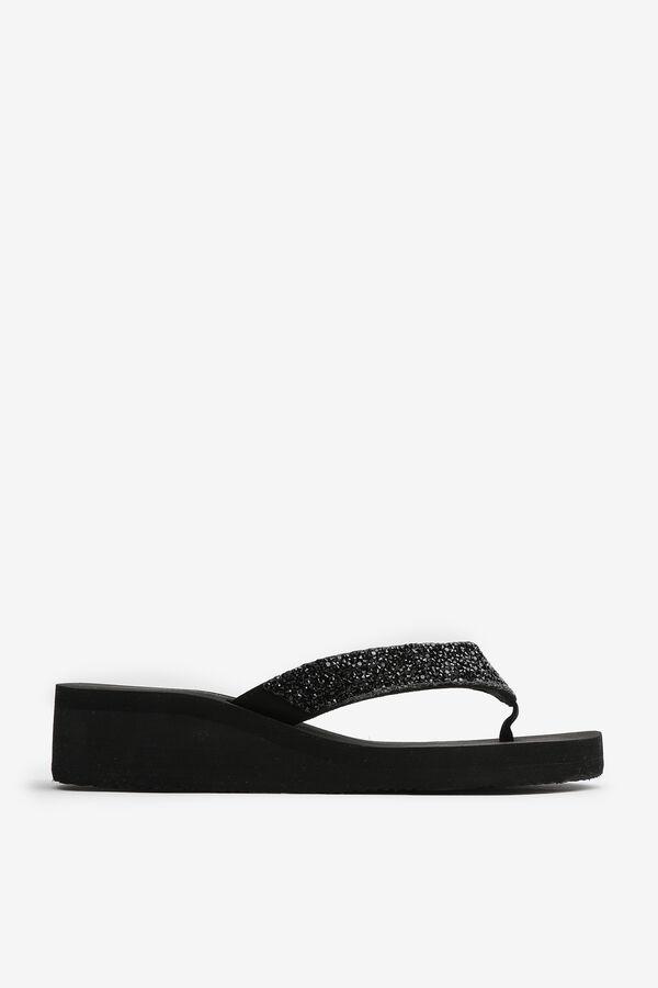 Platform Heel Glitter Flip-Flops
