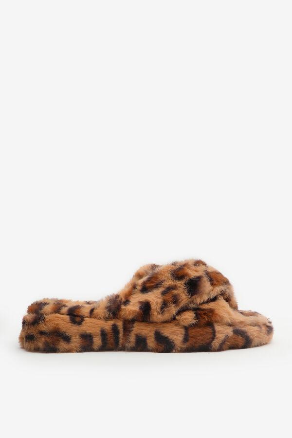 Crossed Faux Fur Leopard Slippers