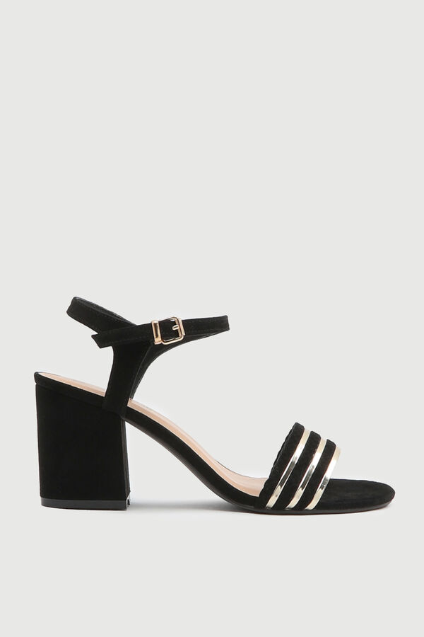 Open Heel Sandals with Gold Tone Strap