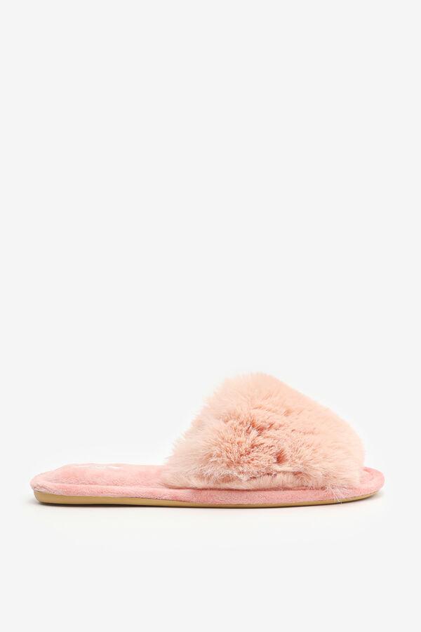 Pantoufles glissières à fausse fourrure