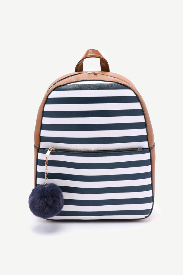 Nautical Striped Backpack with Pompom