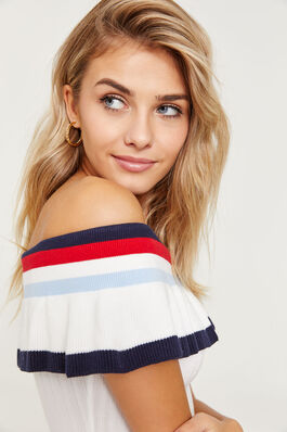 2484abb2909 Off Shoulder Crop Top with Striped Flounce