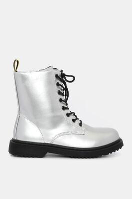 e38a574eafb5 Metallic Faux Leather Combat Boots