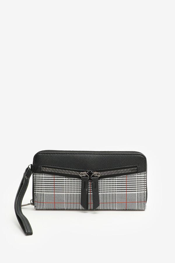 Plaid Double Front Zipper Accordion Wallet