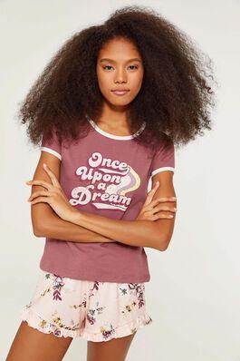 T-shirt de pyjamas ringer imprimé en coton 2b653266dc1