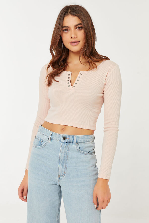 Cropped Tee with Snap Buttons