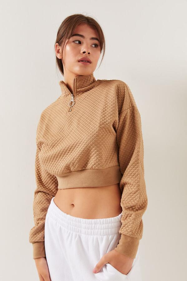 Half-Zip Mock Quilted Sweatshirt