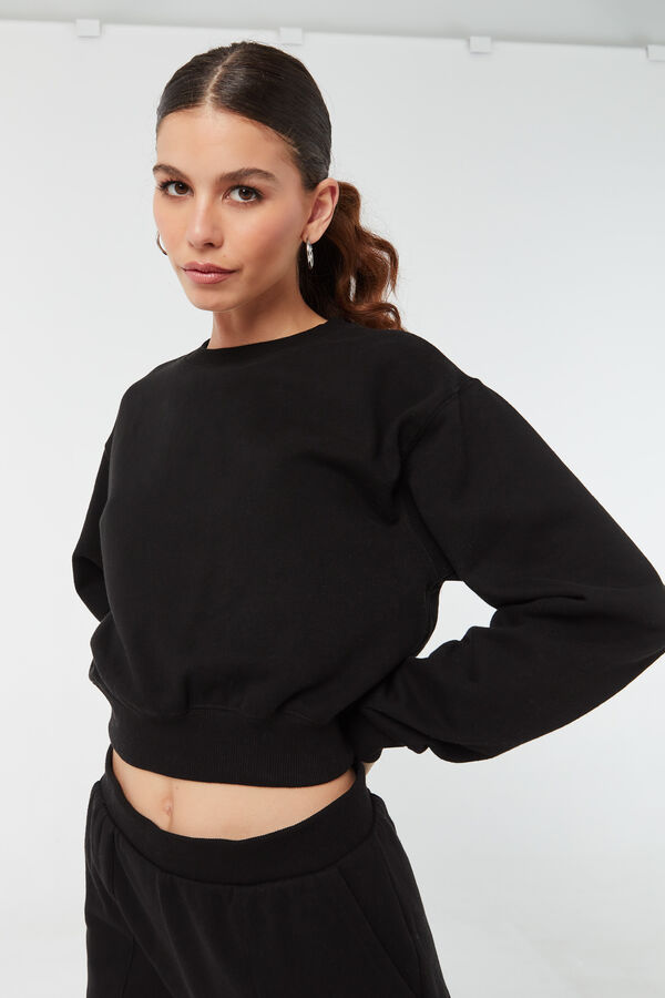 Cropped Crew Neck Sweatshirt