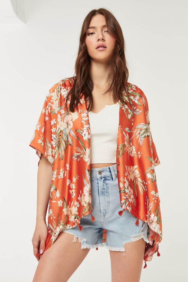 Kimono fleuri à pampilles