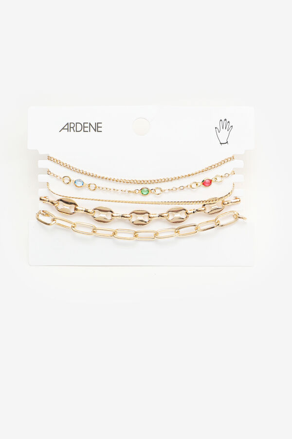 5-Pack Assorted Gold Tone Chain Bracelets