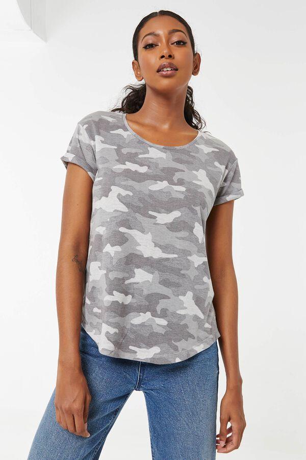 T-shirt à ourlet arrondi camo