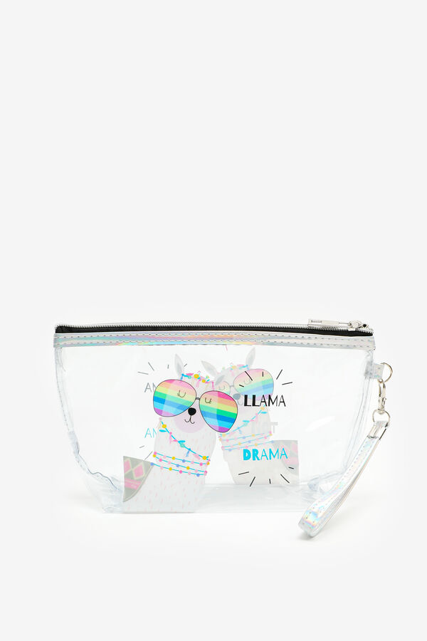 Sac cosmétique transparent lama