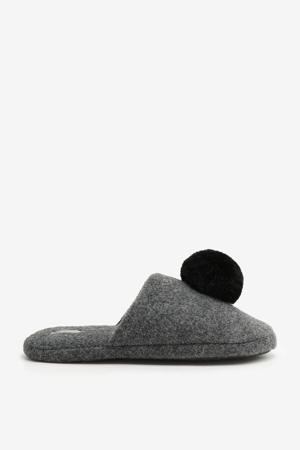 Open Back Slippers with big pompom