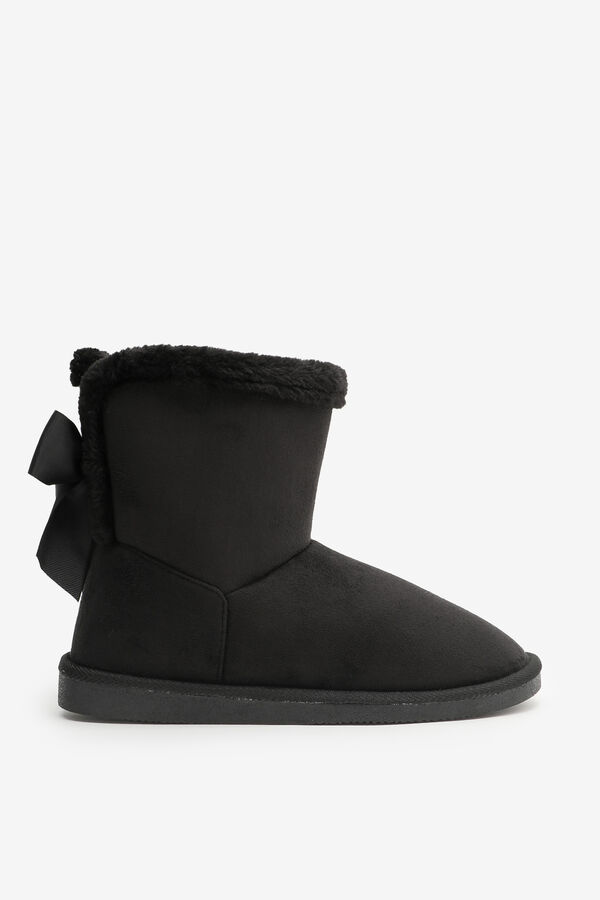 Faux Suede Boots with Bow Detail