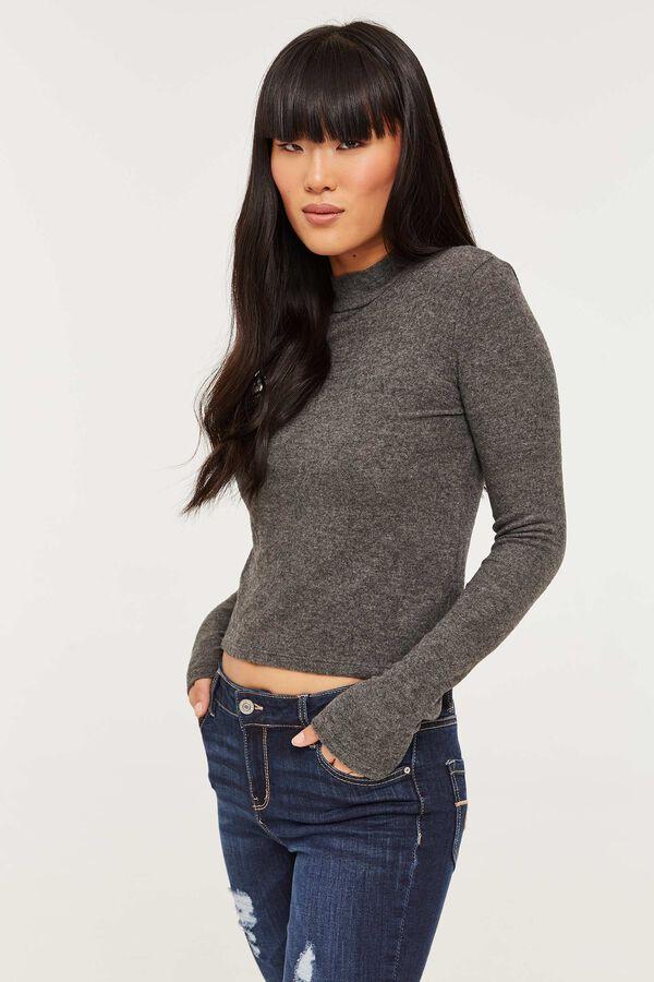 Brushed Mock Neck Sweater