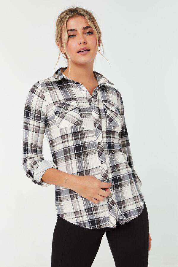 Chemise longue à carreaux avec manches à rouler