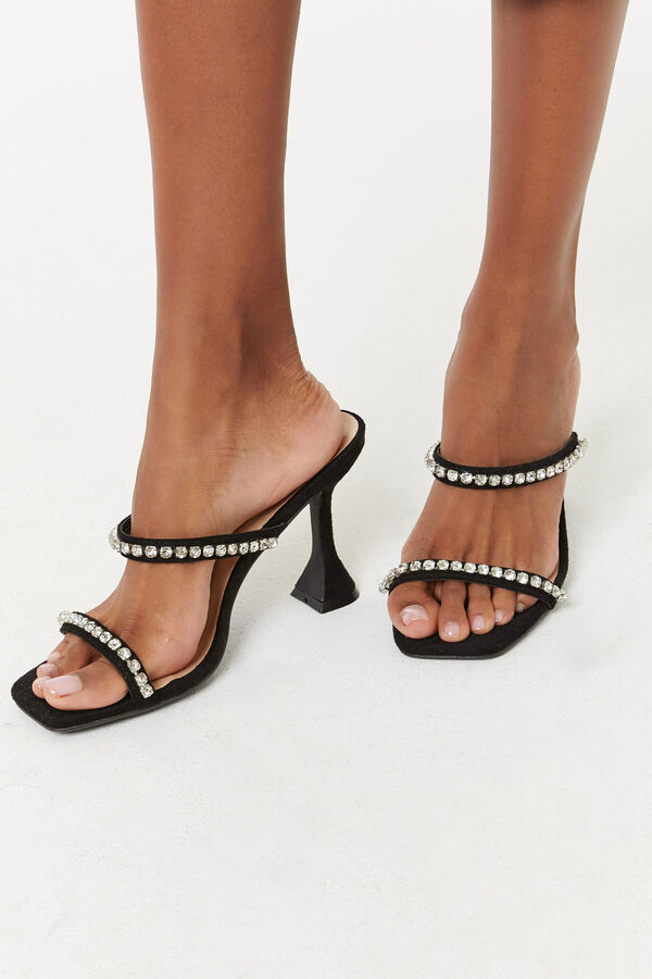 Microsuede Spool Heel Sandals